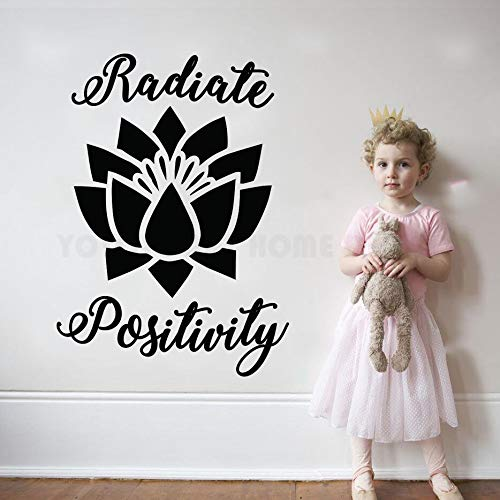 Gute Vibes (Strahlen Positivty Lotus Blume Zitat Wandtattoo Schlafzimmer Vinyl Inspirational Decor Aufkleber Namaste Gute Vibes Buddha Wandbild 57X80CM)