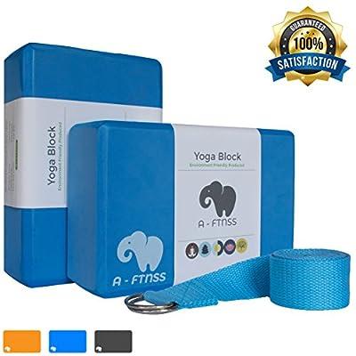 A-FTNSS Yoga Set 2 Blocks und Gurt Schaumstoff Umweltfreundlich Leicht Griffig Fitness Pilates Anfänger und Fortgeschrittene