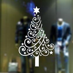Serie Di Natale La Creatività L'individualità Soggiorno Camera Da Letto Finestre Vetri Negozio Adesivi Murali Rimovibili Alberi Di Natale Adesivi Decorativi 60 * 100 Centimetri,White