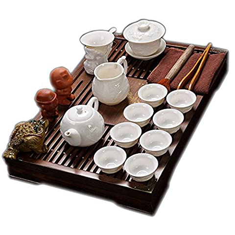 ufengke®Exquisite Ceramic Porcelain kungfu Tea Cup Set with Lid and Wooden Tea Tray-C