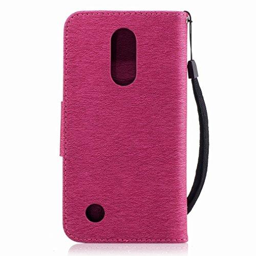 Yiizy LG K8 (2017) / LG X300 / LG M200N Custodia Cover, Fiore Di Farfalla Design Sottile Flip Portafoglio PU Pelle Cuoio Copertura Shell Case Slot Schede Cavalletto Stile Libro Bumper Protettivo Borsa Red Rose