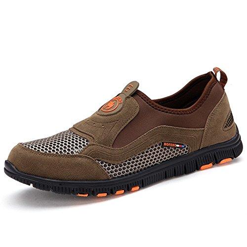 Chaussures de randonnée pour hommes maille cuir extérieur outdoor chaussures de randonnée Khaki