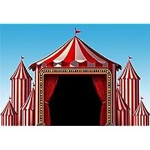 Cassisy 3x2m Vinilo Circo Telon de Fondo Rayas Blancas Rojas Carpas de Circo Cielo Azul Luces