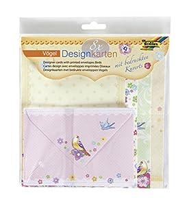 Folia 11403 - pájaros Diseño Tarjetas Set, 8 tarjetas y 8 sobres , Modelos/colores Surtidos, 1 Unidad