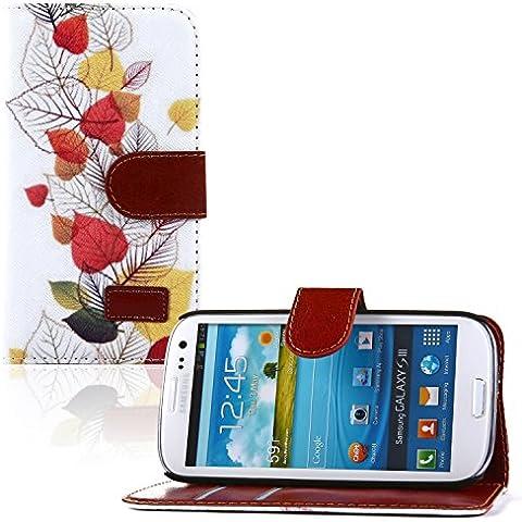 tinxi® PU piel Funda de cuero para Samsung Galaxy S3 i9300 y Samsung Galaxy S3 Neo i9301 la cubierta protectora con la función del soporte y la ranura para tarjetas con el blanco fondo y las hojas multicolores