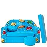 B11+ Kindersofa Ausklappbar Schlafsofa Couch Sofa Minicouch 3 in 1 Baby Set + Kindersessel und Sitzkissen + Matratze