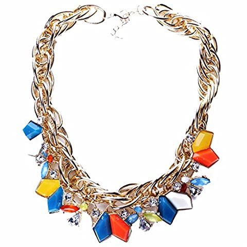 Irregular Geometry Multicolor Resin Pendant Necklace Crystal Chunky Women Choker
