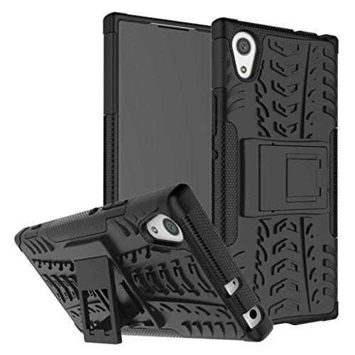 Schutzhülle Sony Xperia XA1 Ultra Hülle, Dual Layer Rüstung Kombination Stoßfest Heavy Duty Schild Harte Schale für Sony Xperia XA1 Ultra (Schwarz)