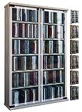 VCM Regal DVD CD Rack Medienregal Medienschrank Aufbewahrung Holzregal Standregal Möbel Bluray Möbel Galerie Kern-Nussbaum