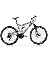 """Moma - Bicicleta Montaña Mountainbike 27,5"""" BTT SHIMANO, aluminio, doble disco y doble suspensión, L-XL (1,80-2,00m)"""