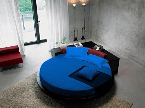 scalabedding Blatt rund Set 6-teilig/100% ägyptische Baumwolle King Size 243,8cm Durchmesser Solide Blau Royal -