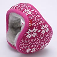 MEICHEN-giovane orecchie calde in inverno può essere ripiegato in maglia di lana di peluche Jacquard dell'orecchio earmuff package,rosso