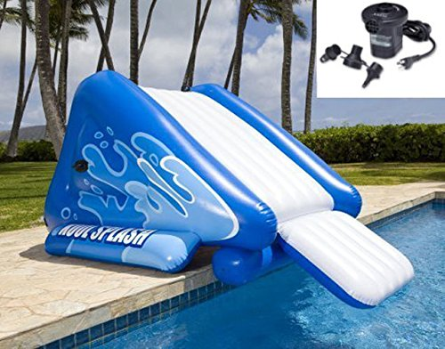 New Shop INTEX Kool Splash Inflatable Swimming Pool Water Slide + Quick Fill Air Pump