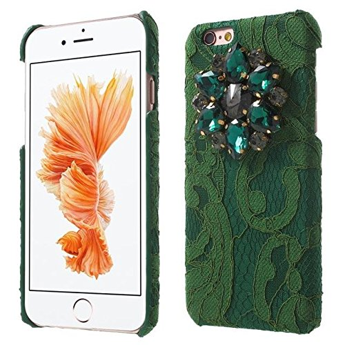Étincelle strass Dentelle Coated Case Mobile Phone pour iPhone 6s green
