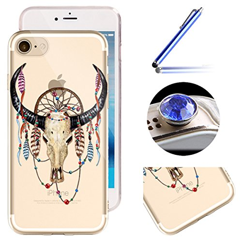 Etsue iPhone 6 Plus/6S Plus Housse,Etui Housse Coque de Protection Silicone TPU Gel pour iPhone 6 Plus/6S Plus,Silicone Coloré Imprimé en Caoutchouc Souple de Gel Housse pour iPhone 6 Plus/6S Plus + 1 Buffle