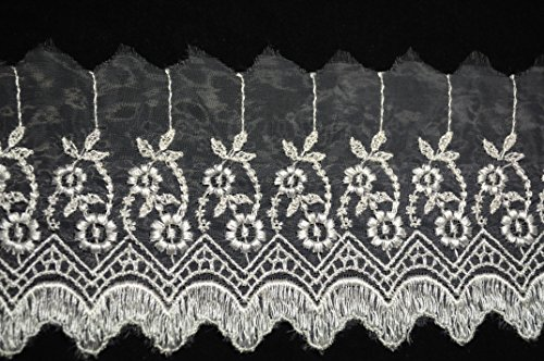Altotux 4 Embroidered Sheer Organza Floral Lace Trim Scalloped Edge By 3 Yards by Altotux Organza Lace Trim