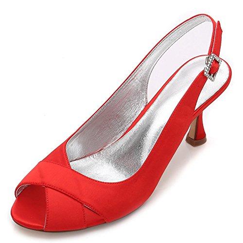 L@YC Chaussures de Mariage Pour Femmes P17061-16 Satin Peep Toe Bridal Demoiselle DHonneur Fashion Jane Style Low Heel Party Court Chaussures 3-8 red