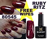 Bluesky 80545 Ruby Ritz Ruby Sparkle Glitzer-Nagellack-Gel, Tiefes Rot, für UV-LED-Lampen, 10 ml plus 2 Luvlinail Glanztücher