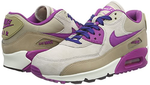Nike WMNS AIR MAX 90 LTHR Damen Sneakers, Dsrt Cm/Prpl Dsk-Strng-Dp Ryl, 38.5 EU -