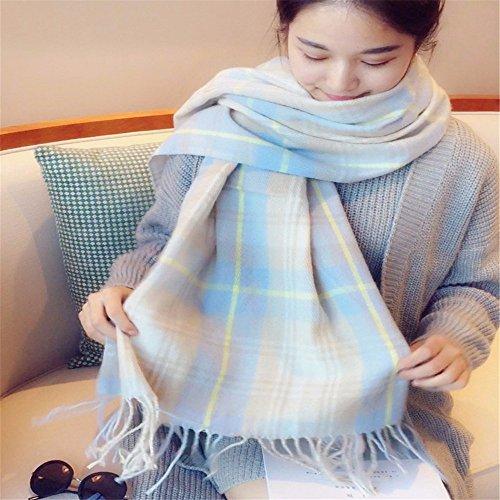 LFJY Foulards Femme Hiver Chaud Lattice Tassel châle Longue Utilisation Double écharpe étudiant d'épaisseur