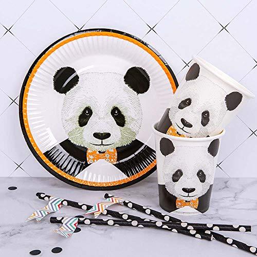Panda Party Einweggeschirr-Set, 40 Stück, inkl. 10 Pappteller, 10 Becher, 10 Trinkhalme, 10 Strohhalme, 10 Strohhalme