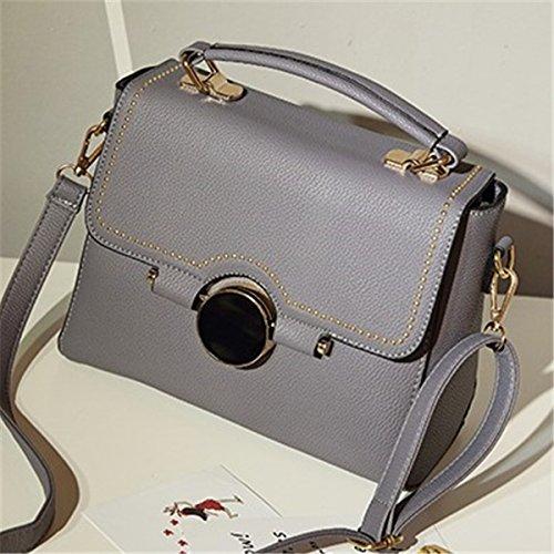 Weibliche runde verschluss kleine quadratische tasche handtasche schultertasche diagonale Weibliche paket Grau