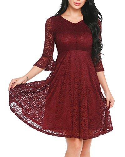 Damen Elegant Kleid Spitzenkleid mit Trompetenärmeln Fay V-Ausschnitt A-Linie Kleid Cocktailkleid...