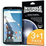 Nexus 6 Protection écran - Invisible Defender Nexus 6 [3+1 Flim/HD Clarté] [Garantie à vie] High Definition (HD) Clarté Film Screen Protector Films de protection d'écran pour Google Motorola Nexus 6