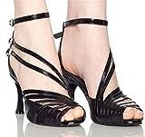 Wgwioo Scarpe Da Ballo Donna Salsa Tango Latino Alto Tacco Ballroom Morbido Cuoio Inferiore Sciarpa Cinturino Fibbia Sandali Classici Nero . C . 39