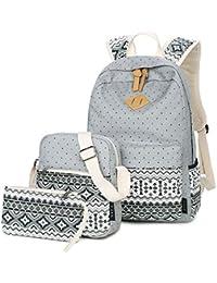 962a4a8b78483 Casual Canvas Schulrucksack Set+Schultertasche +Geldbeutel Mäppchen Causal  Rucksack Freizeitrucksack Daypacks Backpack für…
