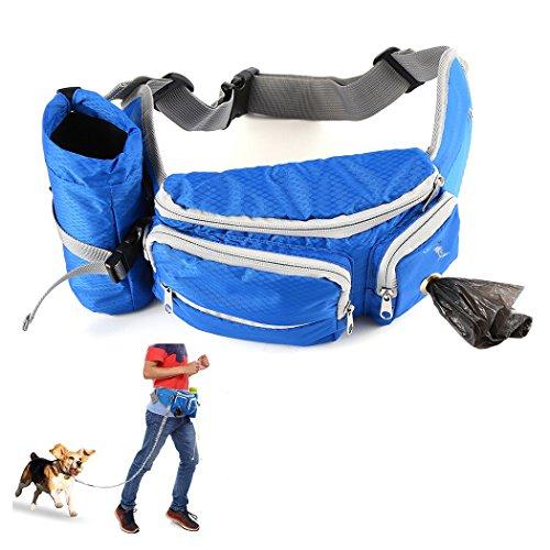 Akemiao Bauchtasche für Gassigehen, Hund, Trainingstasche, mit Flaschenhalter für Camping, Klettern, Reisen, Radfahren und Gassigehen