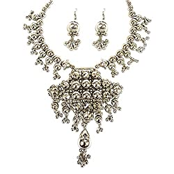 Young & Forever Tribal Muse Navli Navratri Collection Splendid Brass Jaipur Jewels Antique Silver Oxidized Necklace HASLI CHOKER Set for girls navratri jewellery for women by CrazeeMania