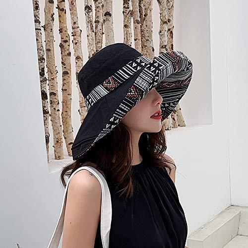 GONGFF Fashion Faltbare Wide Brim Two Side Sonnenhut Sommerhüte für Frauen UV-Schutz Large Brim Beach Sonnenhüte Outdoor Sonnenblende Kappe BlackBeach Hüte Wide Brim Floppy Packable Adjustable - Brim Packable Floppy-hut