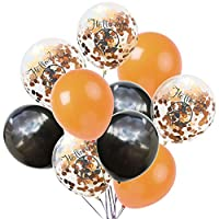 Vi.yo Party Decorations Supplies 30PCS, with 3 Orange Balloons, 3 Black Balloons, 4 Sequin Balloons for Baby Girl Boy Lady Birthday Party Wedding 40cm