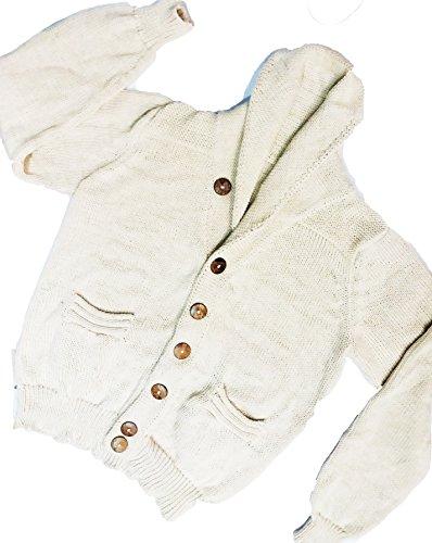 Antiallergen Unisex Jacquard handgestrickt 100% Peruanisch Baby Alpaka wolle Strickjacken Charcoal Shawl Collar Cardigan Pullover, Natural Weiß/ Ivory, Handmade, Organisch, Softness, X-Large