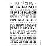 Mes Mots Déco POST-HR-4050-001 Les Règles de la Maison Affiche à Encadrer Papier Blanc 40 x 0,1 x 50 cm