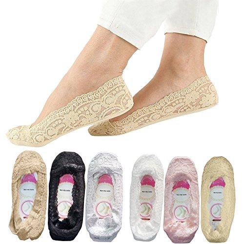 SNUG STAR Lace Socks 6 Pairs Non Slip Socks for Women