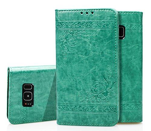Para Samsung Galaxy S8 Funda, Ecoway Serie de patrones en relieve(Verde) Cuero de la PU Leather Cubierta ,Función de Soporte Billetera con Tapa para Tarjetas Soporte para Teléfono