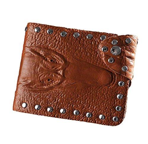Covermason Herren Geldbörse Kurz Brieftasche Kredit- / ID Karte Halter Krokodil-Muster Handtasche (Schwarz) Braun