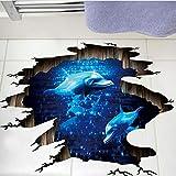 Zxdcd 3D Dunkelblau Traum Delfin Bodenaufkleber Badezimmer Wohnzimmer Boden Dekoration Wandbild Wandaufkleber Wohnkultur Aufkleber Tapete