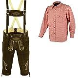 Herren Trachten Lederhose Dunkelbraun Inkl.Hosen Träger Größe 46-62 Trachten Set Rotes Hemd Neu (Lederhose 58 Rotes Hemd XXL)