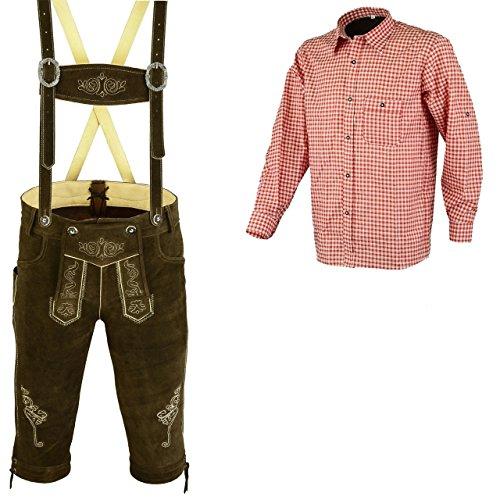 Herren Trachten Lederhose Dunkelbraun Inkl.Hosen Träger Größe 46-62 Trachten Set Rotes Hemd (Lederhose 50 Rotes Hemd L)