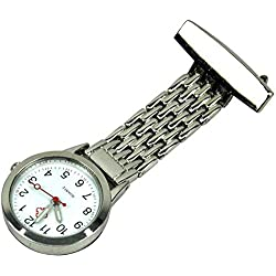 Vivo © High Quality Nurses Stainless Steel Fob Watch Silver Pocket Watch Clip On Shirt