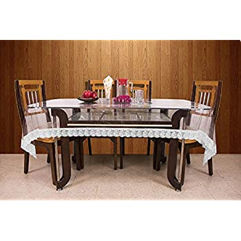 Kuber Industries PVC 6 Seater Transparent Dining Table Cover - Silver