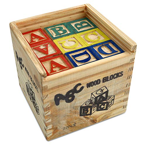 Gooyo High Quality ABC & 123 Wooden Blocks 27 Pieces for Kids with Storage Box Case