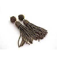 Lange Bronze Perlen Braut Quaste Ohrringe Fransen Ohrhänger