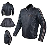 A-Pro Motorcycle Jacket Leather Vintage Style CE Protectors Armour CE L