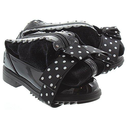 Lelli Kelly LK7664 (DB01) Chiara Alto Magiche Nero Vernice Diamante Zip Up Boots-36 (UK 3) (Patent Stiefel Trim)