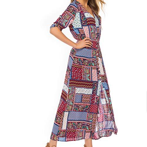 20174e39683db4 Wawer Damen Kleider Boho Sommerkleid V-Ausschnitt Maxikleid Kleider  Schulterfrei Strand Spielanzug.