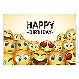 Große Glückwunschkarte zum Geburtstag XXL (A4) Happy Birthday - Gelbe Emoji Smileys/mit Umschlag/Edle Design Klappkarte/Glückwunsch/Happy Birthday Geburtstagskarte/Extra Groß/Edle Maxi Gruß-Karte